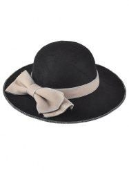 Winter Big bowknot Felt Floppy Hat - Noir