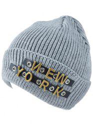 Winter Letter Rivet Flanging Knit Hat -