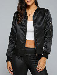 Satin Zip Up Bomber Jacket - BLACK
