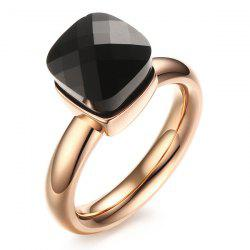 Artificial Gem Geometric Ring - BLACK 8