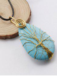 Faux Turquoise Life Tree Pendant Necklace - BLACK