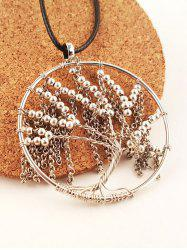 Life Tree Beaded Faux Leather Necklace -