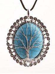 Faux Turquoise Life Tree Oval Necklace - SILVER