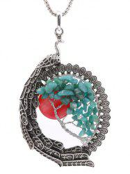Natural Stone Peacock Feather Life Tree Necklace -