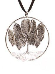 Natural Stone Life Tree Leaf Necklace - SILVER