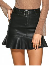 Fishtail Design PU Leather Mini Skirt -