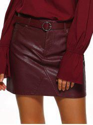Pockets Design Belted Leather Mini Skirt - WINE RED XL
