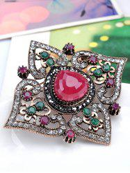 Faux Gemstone Hollow Out Brooch -