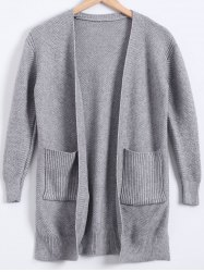 Double Pockets Cardigan - GRAY
