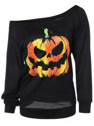 Long Sleeve Pumpkin Print Sweatshirt - BLACK