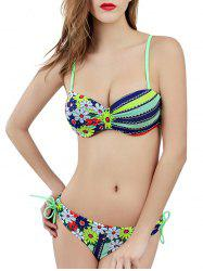 Hit Color Striped Flower Bikini -