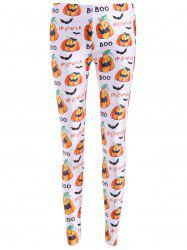 Bat Halloween Print Leggings - WHITE