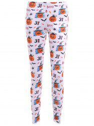 Bat Pumpkin Print Leggings - WHITE