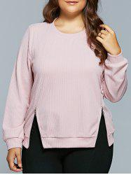 Texturé Zipper design Sweatshirt - Rose Clair
