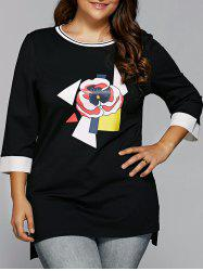 Spliced Flower Applique Asymmetric T-Shirt -