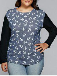 Anchor Print Raglan Sleeves Striped T-Shirt