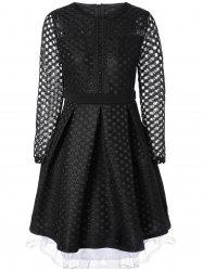 Openwork Sheer Lace Fit and Flare Dress -