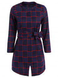 Plaid Belted Split Dress - CHECKED 2XL