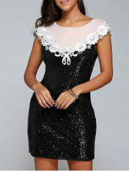 Mini Sequin Lace Spliced Bodycon Dress