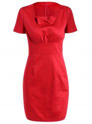 Square Neck Bowknot Bodycon Dress -