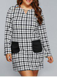Houndstooth Long Sleeve Shift Tunic Dress - WHITE AND BLACK 5XL