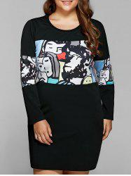 Cartoon Print Patchwork T-Shirt Dress