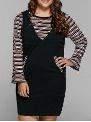 Striped Knitwear and Fitted Pinafore Dress Twinset - BLACK 4XL