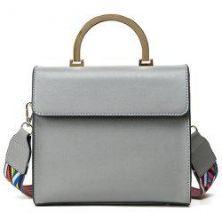 Colored Strap Metal Handle Tote - GRAY