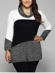 Plus Size Cowl Neck Heathered Blouse - WHITE AND BLACK
