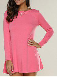Long Sleeve Jersey Tunic Dress - WATERMELON RED