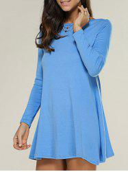 Long Sleeve Jersey Tunic Dress - ICE BLUE