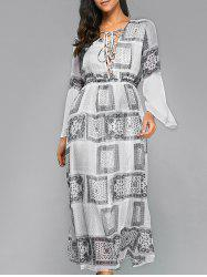 Printed Lace-Up Maxi Bohemian Dress -