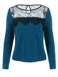 Lace Patchwork Cut Out Blouse -