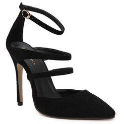 Stiletto Heel Strappy Pumps - BLACK
