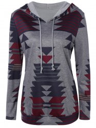 Front Pocket Printed Pullover Hoodie - GRAY XL