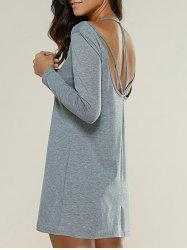 Strappy Backless Long Sleeve Short Dress -