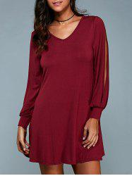 V-Neck Slit Sleeve Plain Dress