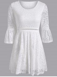 Bell Sleeve Openwork Lace Slimming Dress