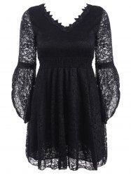 V-Neck Empire Waist Shirred Lace Dress -