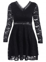 V-Neck Openwork Lace A-Line Dress -