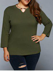 Plus Size Jewel Neck T Shirt