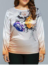 Casual Flower Print Ombre Satin Long Sleeve T-Shirt - WHITE 5XL