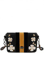 Striped Pattern Flower Embroidery Crossbody Bag