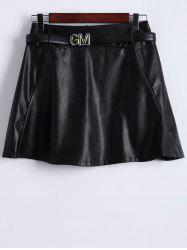Belted Faux Leather Skirt -