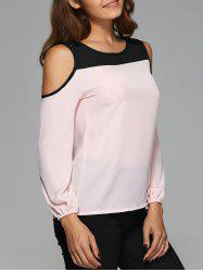 Cut Out Contrast Color Spliced Blouse -