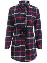 Plaid Button-Down Flannel Drawstring Longline Shirt -