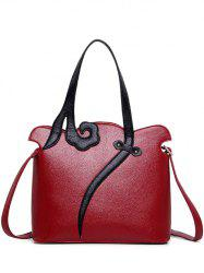 Metal PU Leather Two-Tone Shoulder Bag