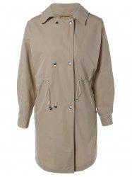 Double Breasted Drawstring Design Coat -
