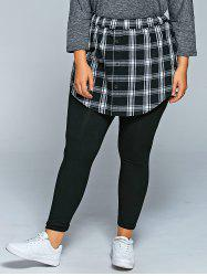 Slimming Plaid Faux Twinset Pants -