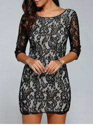 3/4 Sleeve Lace Bodycon Dress - BLACK